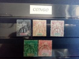 CONGO.1892. N° 12 à 15 + 42. Type SAGE . 3 Neufs 2 Oblitérés . Côte YT 2015 :  25,00 € - Neufs