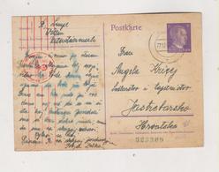SLOVENIA,1942 GERMANY WW II,WOLLAN VELENJE Censored Postal Stationery To Croatia - Slovenia