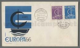 C6912 Italia FDC 1966 EUROPA CEPT 11 EMISSIONE 2 VALORI ROMA - F.D.C.