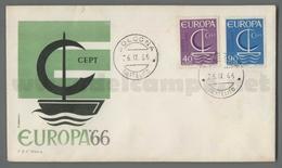 C6913 Italia FDC 1966 EUROPA CEPT 11 EMISSIONE 2 VALORI EUROPA 66 ROMA - F.D.C.