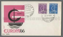 C6914 Italia FDC 1966 EUROPA CEPT 11 EMISSIONE 2 VALORI ROMA - F.D.C.
