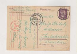 GERMANY,PRITZWALK 1944 Censored Postal Stationery To Croatia - Allemagne