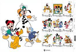 Ukraine 2019, Winter Adventures, Disney Cartoon Characters, Sheetlet Of 9v - Ukraine