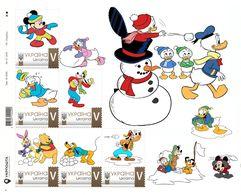 Ukraine 2018, Winter Adventures, Disney Cartoon Characters, Sheetlet Of 6v - Ukraine