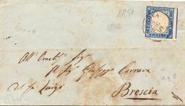 1859 Antichi Stati Sardegna 20c Azzurro Da Genova Per Brescia -franc - Sardaigne
