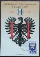 CM 1962 - YT N°1342 - CENTENAIRE DE L'ECOLE D'HORLOGERIE DE BESANCON - 1960-69