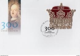 Liechtenstein - 2019 - 300 Years Of Liechtenstein - FDC With Embroidered Souvenir Sheet (real Embroidery) - FDC