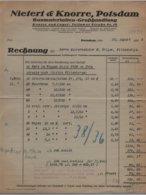 Potsdam - Rechnung Baumaterialien Großhandlung Nietert & Knorre 1928 - Germany