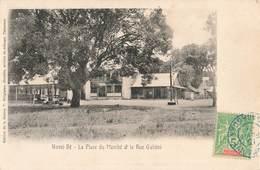 Madagascar Nossi Bé Place Du Marché Et Rue Galieni Gallieni + Timbre Cachet Bleu 1908 - Madagascar
