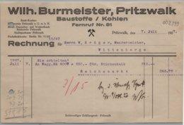 Pritzwalk - Rechnung Baustoffe Und Kohlen Wilh. Burmeister 1927 - Germany