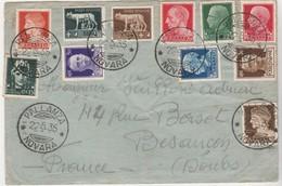 Enveloppe 1935 / Pallanza Novara / Italie / Italia / Bel Affranchissement Multiple - Italy