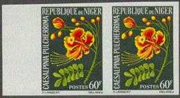 NIGER (1964) Caesalpina Pulcherrima. Imperforate Pair. Scott No 137, Yvert No 141. - Niger (1960-...)