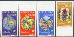 NIGER (1973) Flowers. Set Of 4 Imperforates. Scott Nos 266-9, Yvert Nos 270-3. - Niger (1960-...)