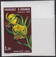 ANDORRA (1980) Pyrenees Lily. Imperforate. Scott No 282, Yvert No 287. - Andorra Francesa