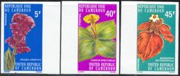 CAMEROUN (1975) Flowers. Set Of 3 Imperforates. Scott Nos 599-601, Yvert Nos 579-81. - Cameroon (1960-...)