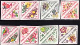 CAMEROUN (1963) Flowers. Complete Set Of 8 Imperforate Se-tenant Pairs. Scott Nos J34-49, Yvert Nos TT35-50. - Cameroon (1960-...)
