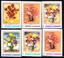 MALDIVES (1973) Paintings Of Flowers. Set Of 6 Imperforates. Scott Nos 420-5, Yvert Nos 403-8. - Maldives (1965-...)