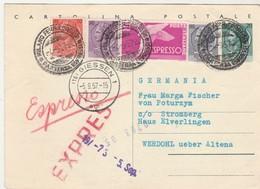 Carte Postale Entier Italia / 1957 / + Complément Vignette Espresso + Timbre / Cachet Partenza Espresso / Pour Allemagne - Italy
