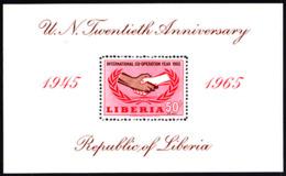 LIBERIA (1965) Handshake. Cooperation Year. Perforate S/S. Scott No C165, Yvert No BF34. - Liberia