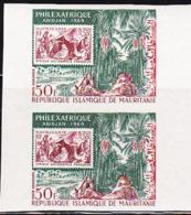 MAURITANIA (1969) Family On Jungle Trail. Imperforate Pair. PhilexAfrique. Scott No C80, Yvert No PA84. - Mauritania (1960-...)