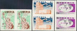 LIBERIA (1956) FIPEX Exhibition. Set Of 6 Imperforate Pairs. Scott Nos 355-7,C100-2. - Liberia