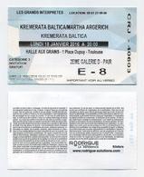 Concert Kremerata Baltica / Martha Argerich (piano) - La Halle Aux Grains, Toulouse, France. Janvier 2016 - Tickets D'entrée
