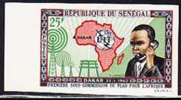 SENEGAL (1962) Man On Telephone. ITU Symbol. Map Of Africa. Imperforate. Africa Meeting Of ITU. Scott No 210 - Senegal (1960-...)