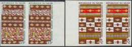 NIGER (1973) Textiles Of Niger. Set Of 2 Imperforate Pairs. Scott Nos 295-6, Yvert Nos 299-300. - Niger (1960-...)