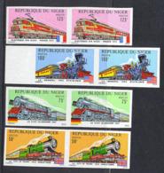 NIGER (1975) Trains. Set Of 4 Imperforate Pairs. Various Locomotives. Scott Nos 312-5, Yvert Nos 316-9. - Niger (1960-...)
