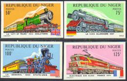 NIGER (1975) Trains. Flags. Set Of 4 Imperforates. Scott Nos 312-5, Yvert Nos 316-9. - Niger (1960-...)