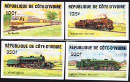 IVORY COAST (1984) Trains. Set Of 4 Imperforates. Scott Nos 722//8, Yvert Nos 695-8. - Ivory Coast (1960-...)