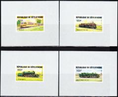 IVORY COAST (1984) Trains. Set Of 4 Imperforate Minisheets. Scott Nos 722//8, Yvert Nos 695-8. - Ivory Coast (1960-...)