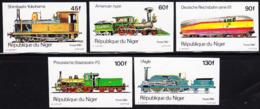 NIGER (1980) Locomotives. Set Of 5 Imperforates. Scott Nos 514-8, Yvert Nos 510-4. - Niger (1960-...)