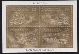 TANZANIA (1995) Locomotives. Block Of 4 Gold Foil Stamps. - Tanzania (1964-...)