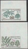 ANDORRA (1984) Chestnut. Walnut. Set Of 2 Imperforate Corner Copies. Scott Nos 325-6, Yvert Nos 331-2. - Andorra Francesa