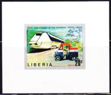 LIBERIA (1974) Futuristic Mail Train. Postal Truck. UPU Emblem. Imperforate Minisheet. UPU Centenary. Scott No 667 - Liberia