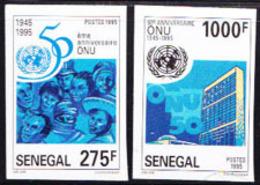 SENEGAL (1995) UN Emblem. Building. Set Of 2 Imperforates.  50th Anniversary. Scott Nos 1178-9, Yvert Nos 1149-50. - Senegal (1960-...)