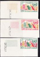 SENEGAL (1962) Flag Of Senegal. UN Building. Set Of 3 Imperforates. Scott Nos 207-9, Yvert Nos 210-2. - Senegal (1960-...)