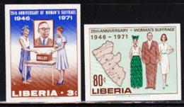 LIBERIA (1971) Women Voting. Set Of 2 Imperforates. Scott Nos 555-6, Yvert Nos 526-7. - Liberia