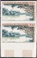 IVORY COAST (1963) Comoe River. Imperforate Pair. Scott No C24, Yvert No PA28. - Ivory Coast (1960-...)