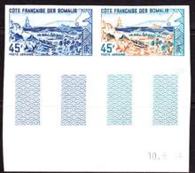 SOMALI COAST (1965) Abbé Lake. Trial Color Proof Pair. Scott No C37, Yvert No PA43. - French Somali Coast (1894-1967)