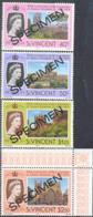 ST. VINCENT (1978) Silver Jubilee. Set Of 4 Overprinted SPECIMEN. Scott Nos 528-31, Yvert Nos 511-4. - St.Vincent (1979-...)