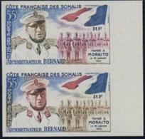 SOMALI COAST (1960) Administrator Bernard. Flag. Trial Color Proof Pair. Scott No C22, Yvert No PA27. - French Somali Coast (1894-1967)