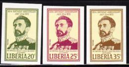 LIBERIA (1972) Haile Selassie. Set Of 3 Imperforates. Scott Nos 605-7, Yvert Nos 576-8. - Liberia