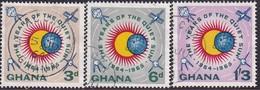 GHANA 1964 SG 332-34a Compl.set+m/s Used Int. Quiet Sun Year - Ghana (1957-...)