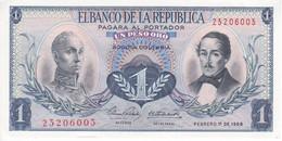BILLETE DE COLOMBIA DE 1 PESO DE ORO DEL AÑO 1968 EN CALIDAD EBC (XF)  (BANK NOTE) - Colombie