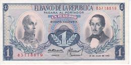 BILLETE DE COLOMBIA DE 1 PESO DE ORO DEL AÑO 1972 EN CALIDAD EBC (XF)  (BANK NOTE) - Colombie