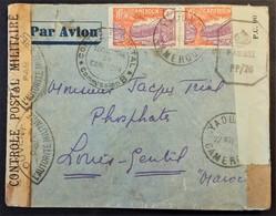 Env CAMEROUN Vers Phosphates LOUIS-GENTIL Maroc Cachet CONTROLE POSTAL CAMEROUN Bandes De Censure Française Et Anglaise - Guerre De 1939-45