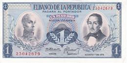 BILLETE DE COLOMBIA DE 1 PESO DE ORO DEL AÑO 1974 EN CALIDAD EBC (XF)  (BANK NOTE) - Colombie