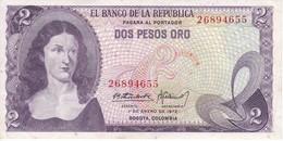 BILLETE DE COLOMBIA DE 2 PESOS DE ORO DEL AÑO 1972 EN CALIDAD EBC (XF)  (BANK NOTE) - Colombie